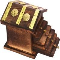 Craftgasmic Square Wood Coaster Set(Pack of 6)
