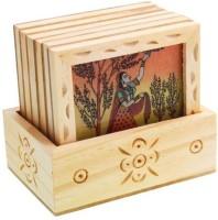 RUDRAAKSH Square Wood Coaster Set(Pack of 6)