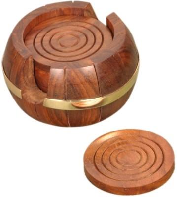 Jupiter Gifts and Crafts Round Wood Coaster Set