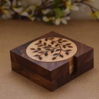 Unravel India Round Wood Coaster Set(Pack of 7)