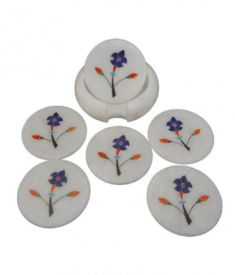 Pooja Creation Round Marble Coaster Set(Pack of 1)