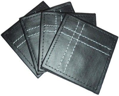 Amita Home Furnishing Square Leather Coaster(Pack of 4)