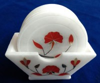 Unique Handicrafts Round Marble Coaster Set(Pack of 6)