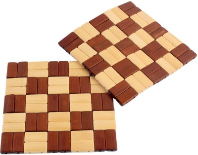 HOKIPO Square Bamboo Coaster Set