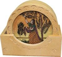 Bhavikaa Round Wood Coaster Set(Pack of 6)