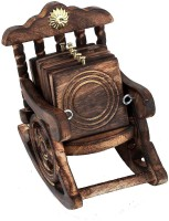 AbheyArts Square Wood Coaster Set(Pack of 6)