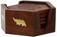 AbheyArts Round Wood Coaster Set(Pack of 6)