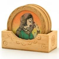 Shree Sai Round Wood Coaster Set(Pack of 6)