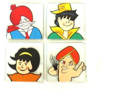 SCRAPSHALA Square Glass Coaster Set