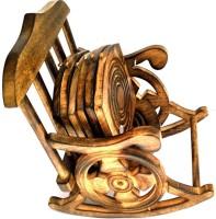 Shri Banke Handicraft Square Wood Coaster Set(Pack of 6)