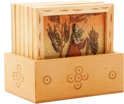 MahadevHandicrafts Square Wood Coaster Set