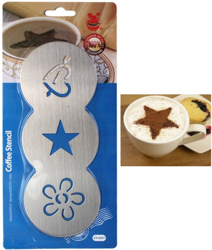 ZHENGTU Stainless Steel , 3 Design, 1 Piece Coffee Stencils(Pack of 1)