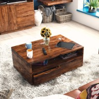 Urban Ladder Zephyr Storage Solid Wood Coffee Table(Finish Color - Teak)