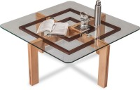 Durian GIBSON/CT Solid Wood Coffee Table(Finish Color - Clear Glass)