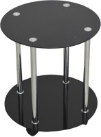Ambience Interior Mall Round Table Glass Coffee Table(Finish Color - Black Glossy)