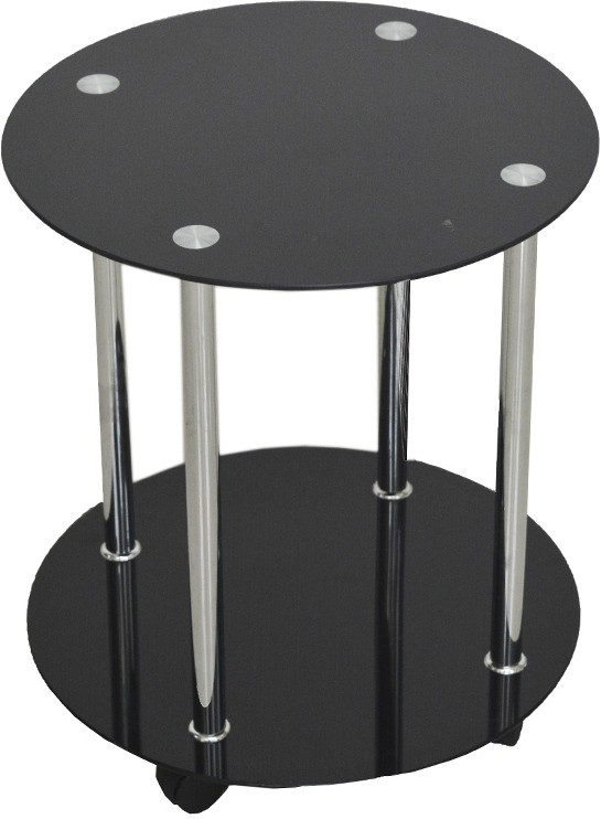 View Ambience Interior Mall Round Table Glass Coffee Table(Finish Color - Black Glossy) Furniture (Ambience Interior Mall)