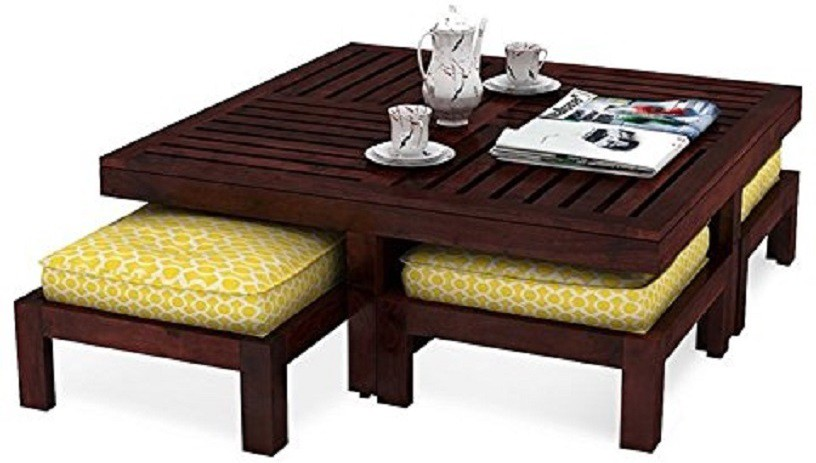 View Smarvvv Productions Smart & Stylish Solid Wood Coffee Table(Finish Color - Brown) Furniture (Smarvvv Productions)