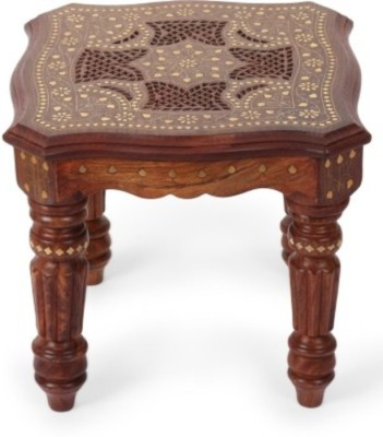 Onlineshoppee Hand Carved And Brass Inlay Solid Wood Coffee Table
