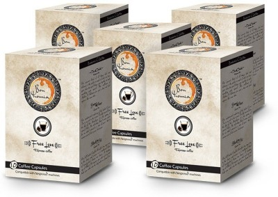 Bonhomia Free Love Intensity 5 Filter Coffee 50 Sachets(Pack of 5 Unflavoured Flavored)