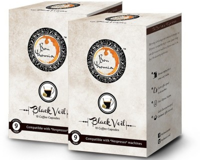 Bonhomia Black Veil Intensity 9 Filter Coffee 20 Sachets(Pack of 2 Unflavoured Flavored)