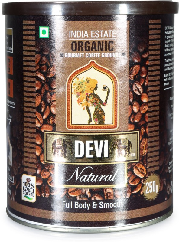Devi Natural Organic Robusta Grounds Filter Coffee 250 g Tin