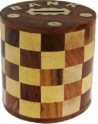 limra handicrafts wooden chess style Coin Bank