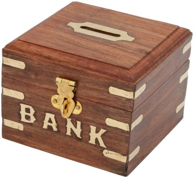 Craft Art India Brown Handmade Wooden Square Money Box Coin Bank
