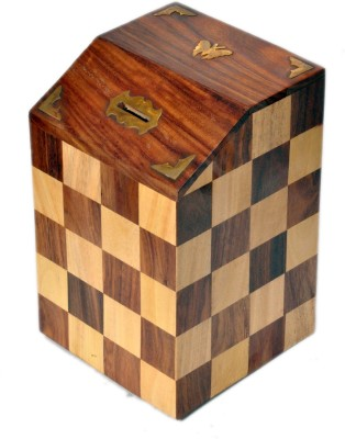 Woodpedlar Sheesam Wood Handicraft Chess Design Tredy Children Piggy Money Coin Bank