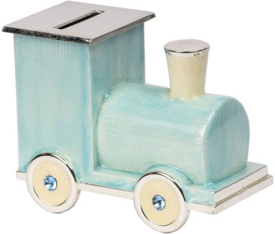 JewelandGifts Designer Mother of Pearl Silver Plated Engine Shaped Coin Bank