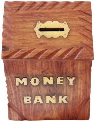 Craftatoz wooden hut shape Coin Bank