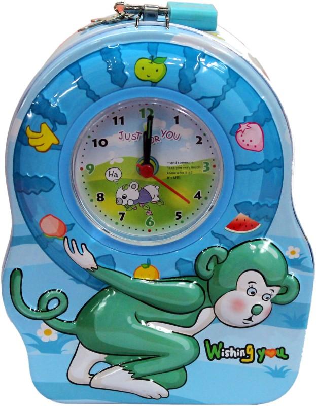 Tootpado Monkey Design Piggy Bank With Clock (1j293) - Made of Metal Coin Bank