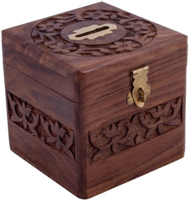 Woodpedlar Sheesam Wood Handicraft Box ShapedTredy Children Piggy Money Coin Bank