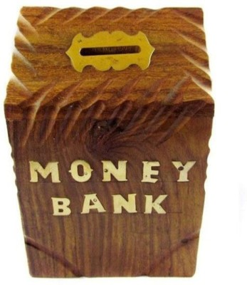 Onlineshoppee Sheesam Wood Coin Bank