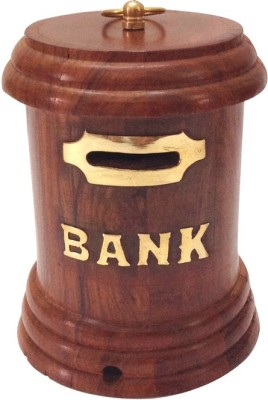 Craft Art India Brown Handmade Wooden Money Box / Gulak Coin Bank