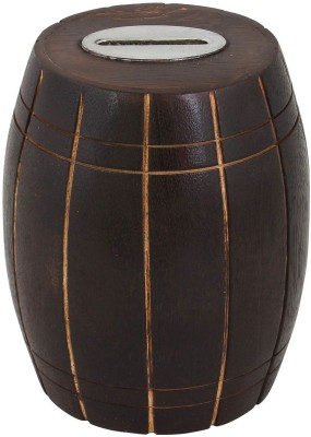 Craft Art India Handcrafted Wooden Money Bank /Piggy Bank / Coin Box in Barrel Shape Coin Bank(Brown)