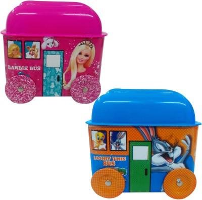 Barbie & Looney Tunes Gift set of Bus Shape Metallic Coin Banks Set Coin Bank(Multicolor)