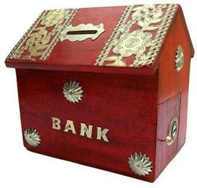 OnlinePurchs Wooden Hut Shape Coin Bank