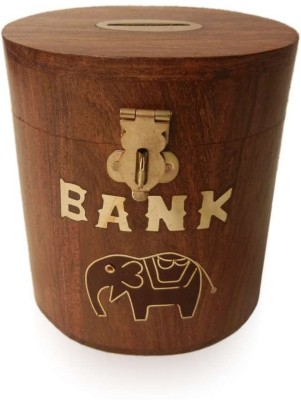 Crafts Paradise Elephant and Brass Inlay Work Oval Shape Coin Bank