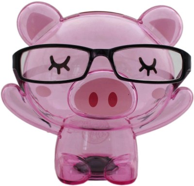 Tootpado Bear Shape Eye Glasses Stand With Piggy BankTransparent Money Savings Kiddy Toy Coin Bank