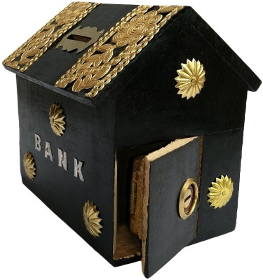 limra handicrafts wooden black hut Coin Bank