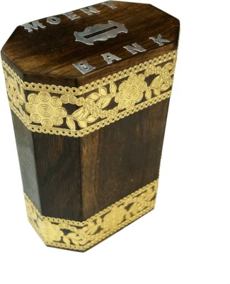 R S Jewels Wooden Handicrafts With Flora Designs Coin Bank