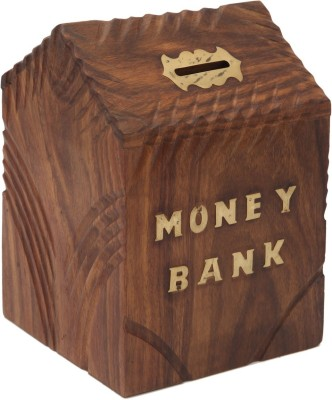JaipurCrafts Decorative Hut Coin Bank(Brown, Gold)