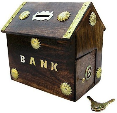 limra handicrafts wooden anique hut Coin Bank