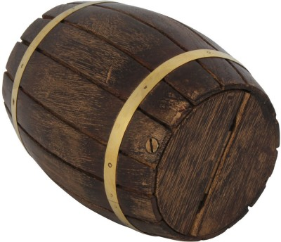 Craft Art India Indian Handcrafted Wooden Barrel Shape Money Box Coin Bank