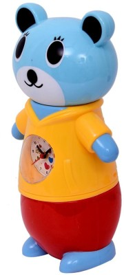 Planet of Toys Piggy Bank with Clock (Yellow) Coin Bank
