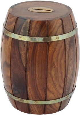 Craft Art India Handmade Wooden Money Box In Barrel Shape With Carving Coin Bank