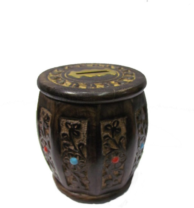 S C Handicrafts Box Coin Bank(Black, Gold)