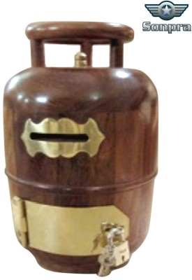 Sonpra Wooden Gas Cylinder Coin Bank(Brown)