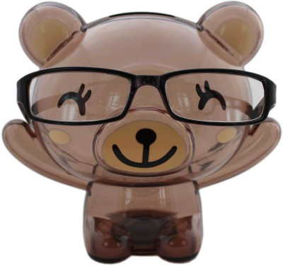 Tootpado Bear Shape Eye Glasses Stand With Piggy Ban Transparent Money Savings Kiddy Toy Coin Bank