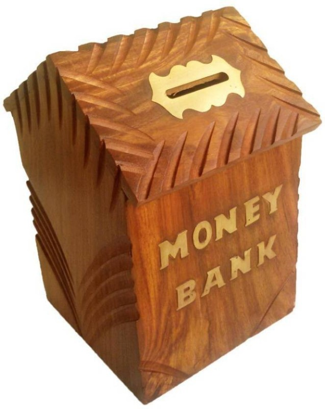 myWoodKart coinboxhut Coin Bank(Brown)